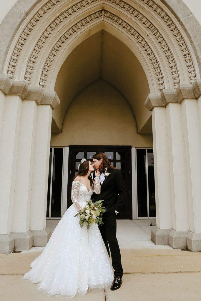 Gabriella and Trevor share a sweet moment, Gabriella and Trevor Deggeller wedding, Photo by Jennifer Sampson