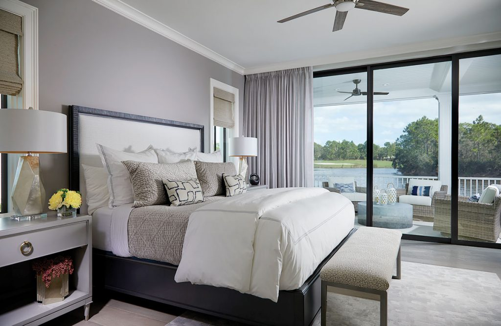 Shades of gray are  an ideal color palette  in the bedroom. Dianne Davant & Associates. Photo by Daniel Newcomb