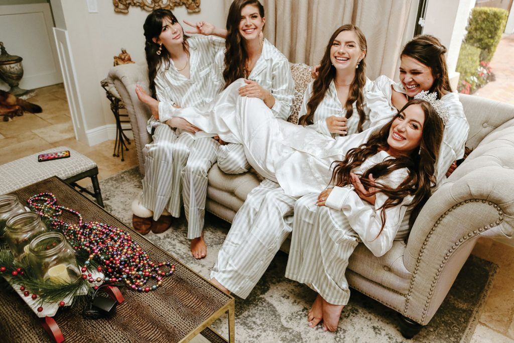 The bride-to-be hangs out with her bridesmaids, Gabriella and Trevor Deggeller wedding, Photo by Jennifer Sampson