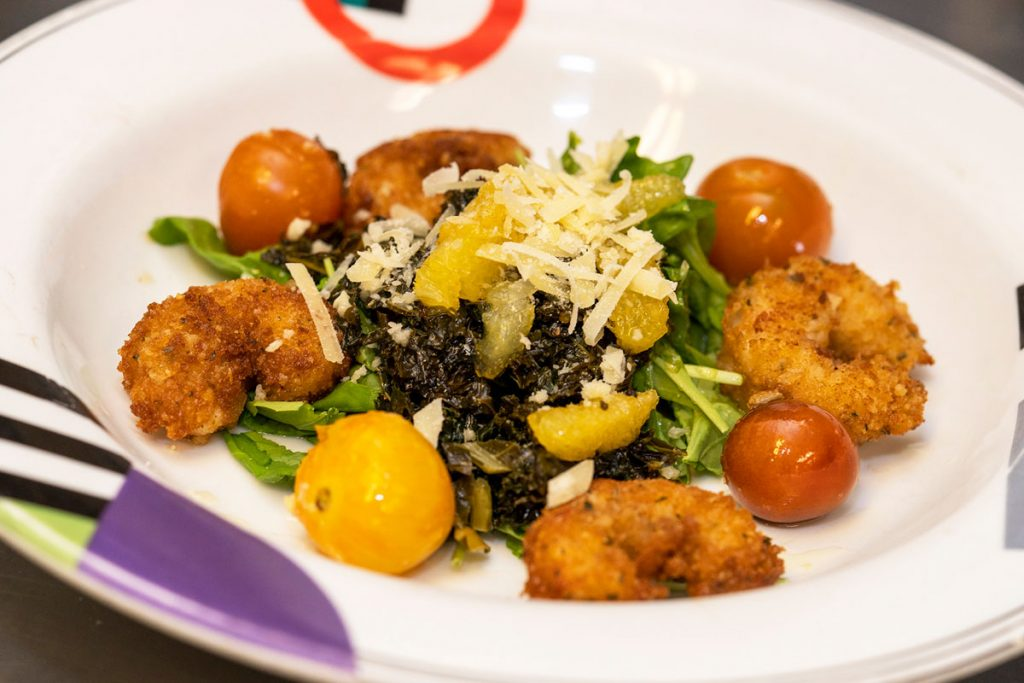 Chef Mark Muller of Ellie's Downtown Deli & Catering in Stuart shares his recipe for Parmesan-crusted Gulf shrimp with spigariello. Photo by LIZ MCKINLEY