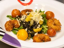 Parmesan-crusted Gulf shrimp with spigariello