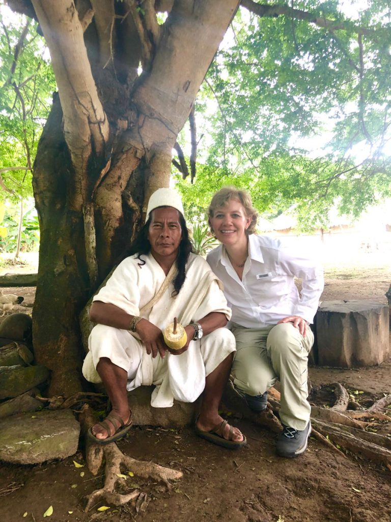 Castronovo with Mamo Camilo, spiritual leader of the Arhuaco indigenous people in the Sierra Nevada de Santa Marta region of Colombia, one of the areas from which she sources her cacao