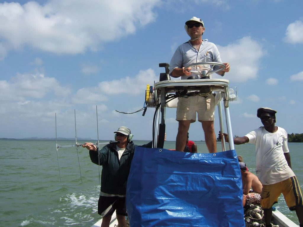 Buddy Powell tracking manatees in Belize. Photo courtesy Clearwater Marine Aquarium research institute