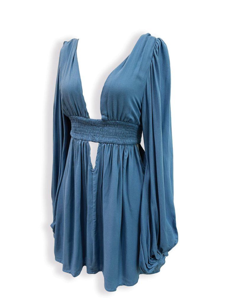Indah Solana mini dress in Sky ($180); Vagabond Apparel, Palm Beach Gardens