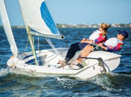 Audrey and Peter sailing a C420 in the Intracoastal near Jensen Beach. Photos by Jason Nuttle